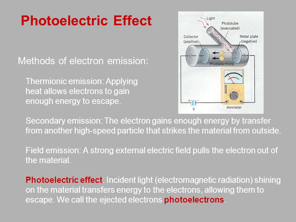 Photoelectric Effect Methods of electron emission: Thermionic emission: Applying heat allows electrons to gain enough energy to escape.