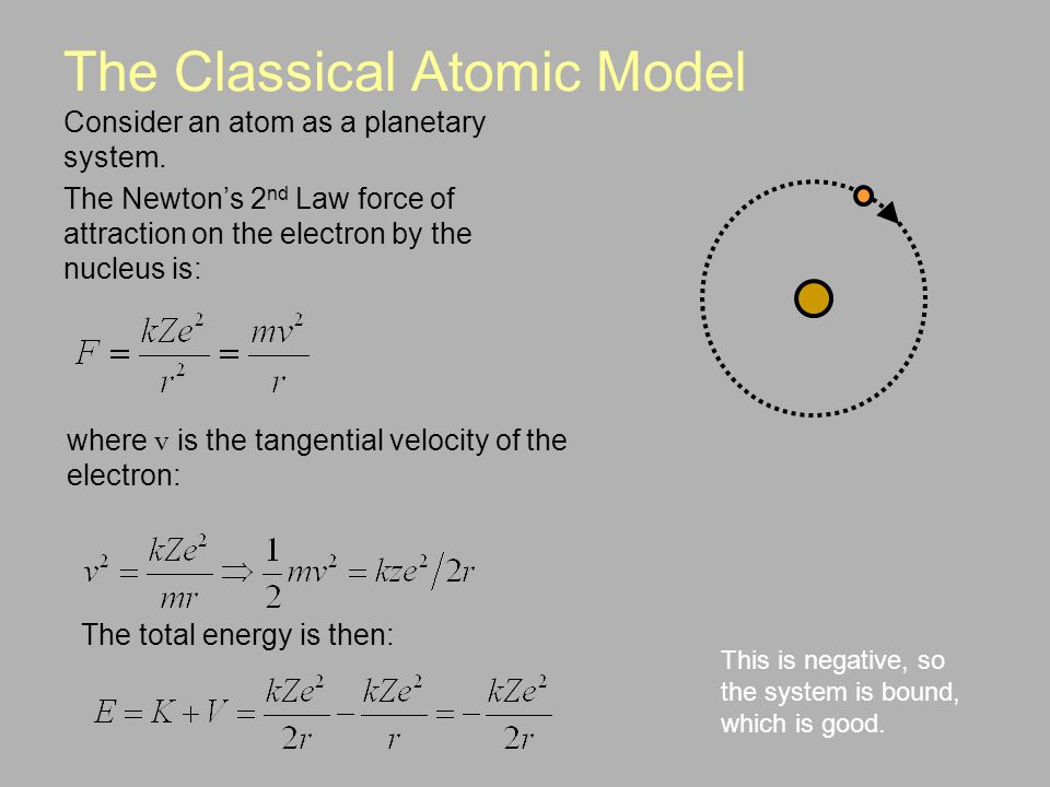 The Classical Atomic Model Consider an atom as a planetary system.