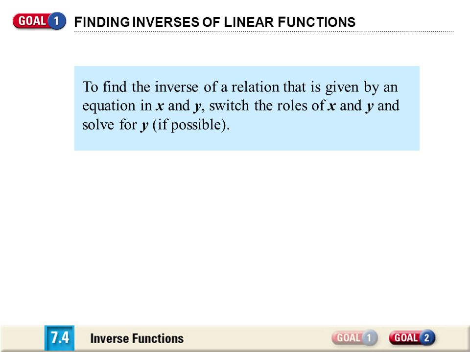 F INDING I NVERSES OF L INEAR F UNCTIONS To find the inverse of a relation that is given by an equation in x and y, switch the roles of x and y and solve for y (if possible).