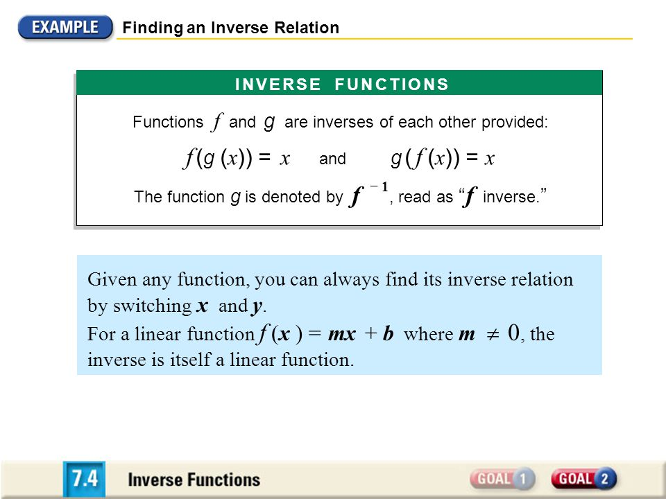 Verifying Inverse Functions S OLUTION Show that f ( g (x)) = x and g (f (x)) = x.