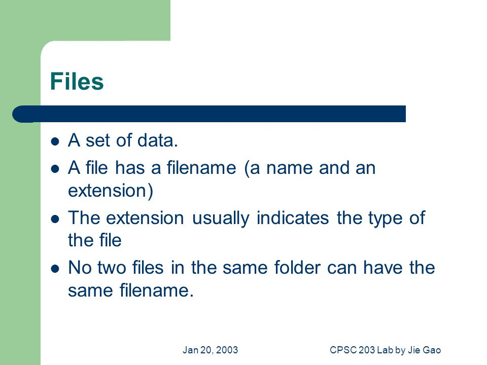 Jan 20, 2003CPSC 203 Lab by Jie Gao Files A set of data.