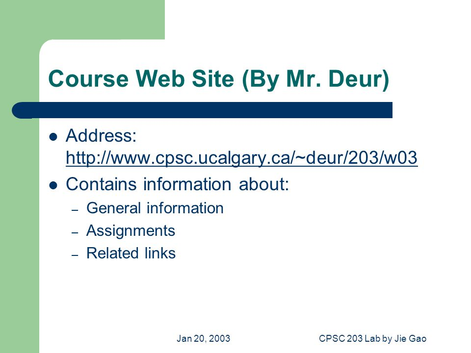 Jan 20, 2003CPSC 203 Lab by Jie Gao To Access the Course Web Site Method 1: input http://www.cpsc.ucalgary.ca/~deur/203/w03 in the browser's Address Bar then press Enter key http://www.cpsc.ucalgary.ca/~deur/203/w03 Method 2: To to the U of C homepage: http://www.ucalgary.ca/  Faculties  Computer Science (under Science )  Courses  CPSC203 W03  L06, L09, L10 Web page (Deur)http://www.ucalgary.ca/