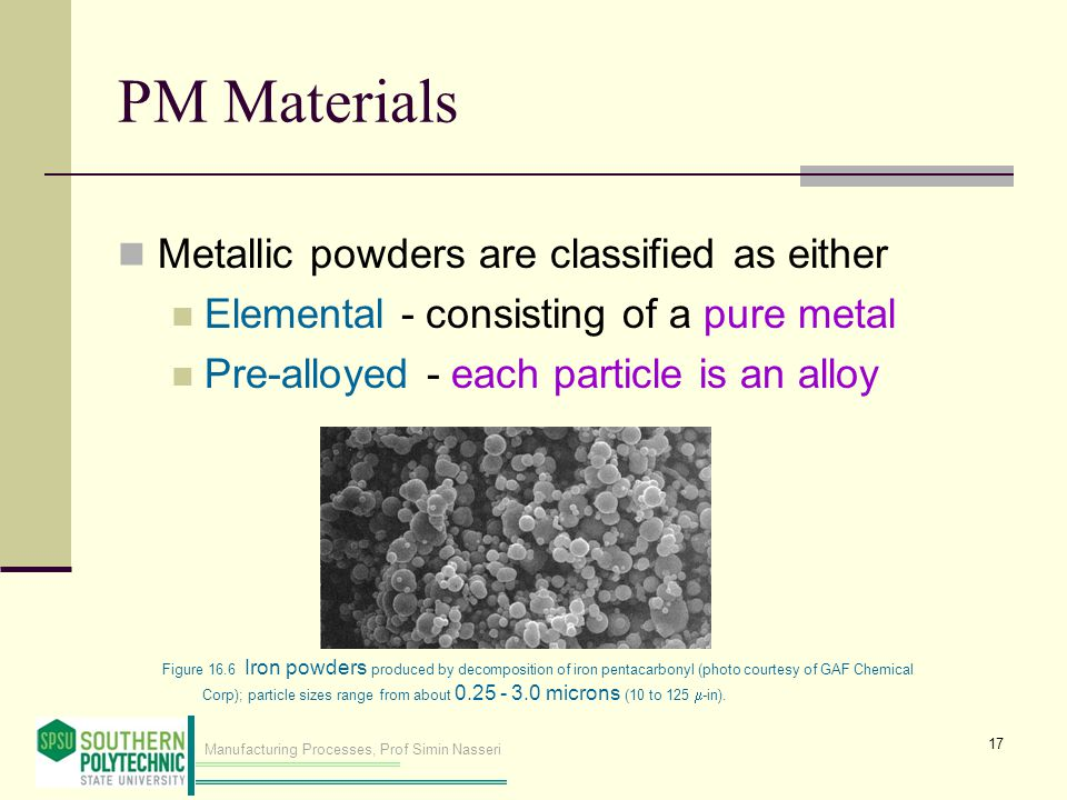 Manufacturing Processes, Prof Simin Nasseri PM Materials Metallic powders are classified as either Elemental - consisting of a pure metal Pre-alloyed - each particle is an alloy 17 Figure 16.6 Iron powders produced by decomposition of iron pentacarbonyl (photo courtesy of GAF Chemical Corp); particle sizes range from about 0.25 ‑ 3.0 microns (10 to 125  -in).