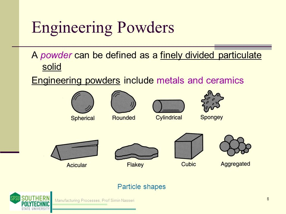 Manufacturing Processes, Prof Simin Nasseri Engineering Powders A powder can be defined as a finely divided particulate solid Engineering powders include metals and ceramics 8 Particle shapes