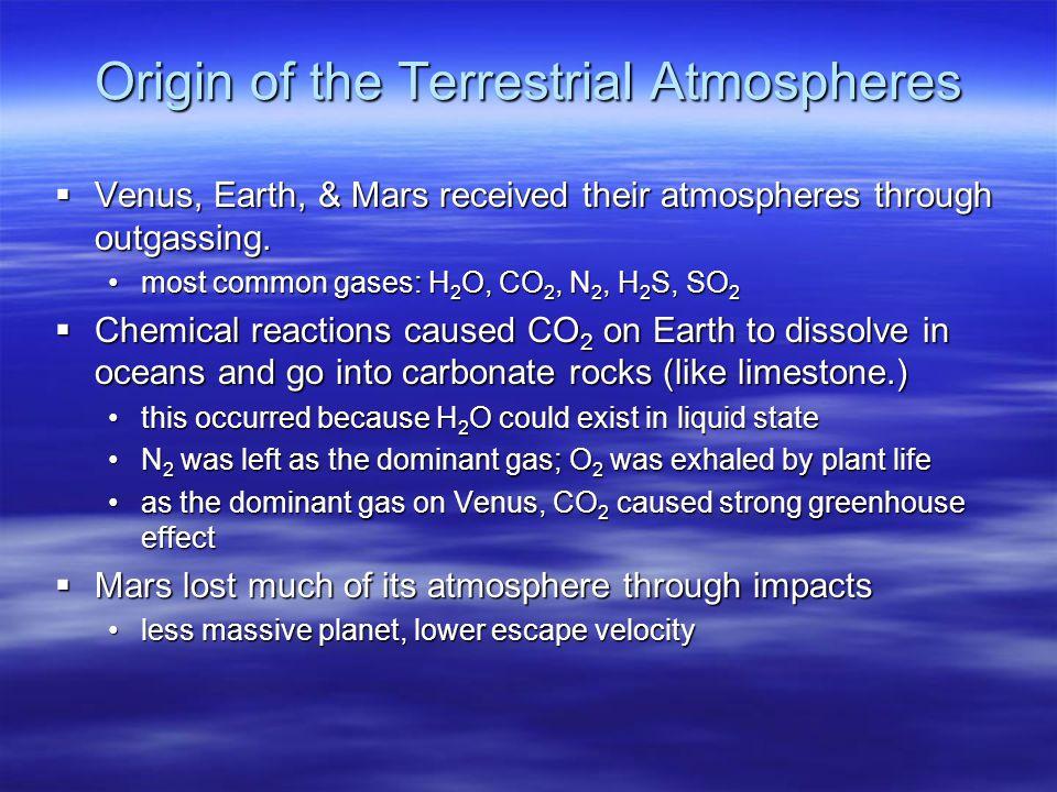 Origin of the Terrestrial Atmospheres  Venus, Earth, & Mars received their atmospheres through outgassing.