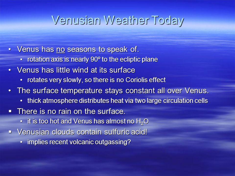 Venusian Weather Today Venus has no seasons to speak of.Venus has no seasons to speak of.