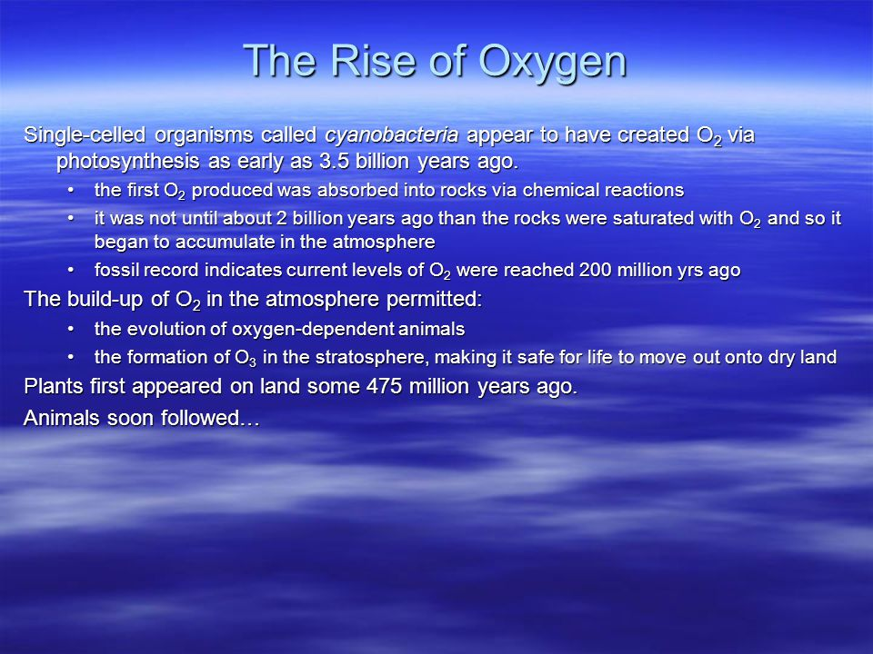 The Rise of Oxygen Single-celled organisms called cyanobacteria appear to have created O 2 via photosynthesis as early as 3.5 billion years ago.