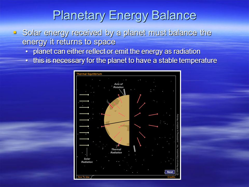 Planetary Energy Balance  Solar energy received by a planet must balance the energy it returns to space planet can either reflect or emit the energy as radiationplanet can either reflect or emit the energy as radiation this is necessary for the planet to have a stable temperaturethis is necessary for the planet to have a stable temperature