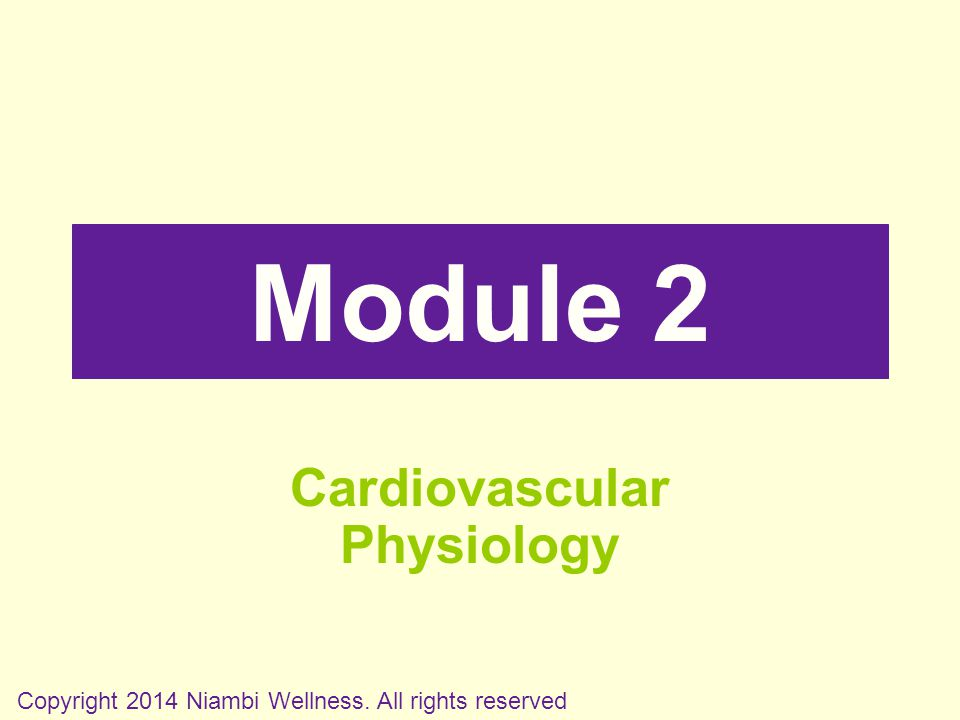 Module 2 Cardiovascular Physiology Copyright 2014 Niambi Wellness. All rights reserved