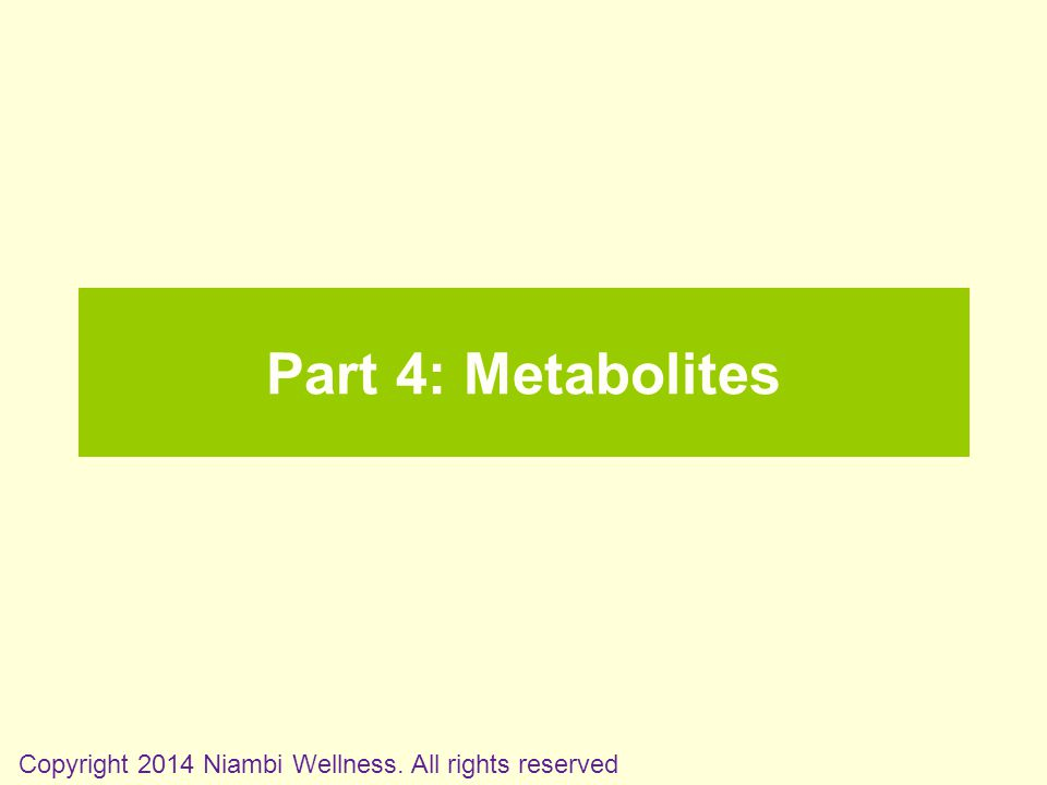 Part 4: Metabolites Copyright 2014 Niambi Wellness. All rights reserved