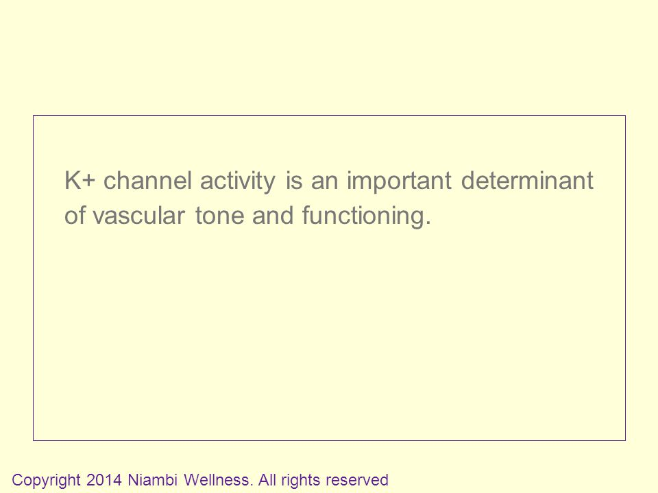K+ channel activity is an important determinant of vascular tone and functioning.