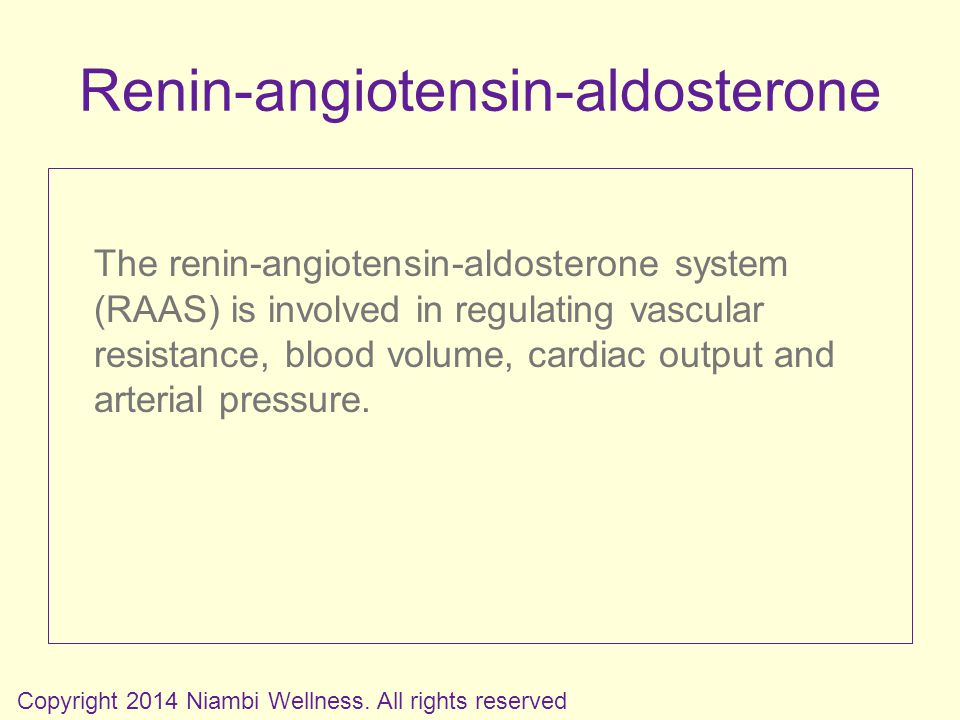 Renin-angiotensin-aldosterone The renin-angiotensin-aldosterone system (RAAS) is involved in regulating vascular resistance, blood volume, cardiac output and arterial pressure.