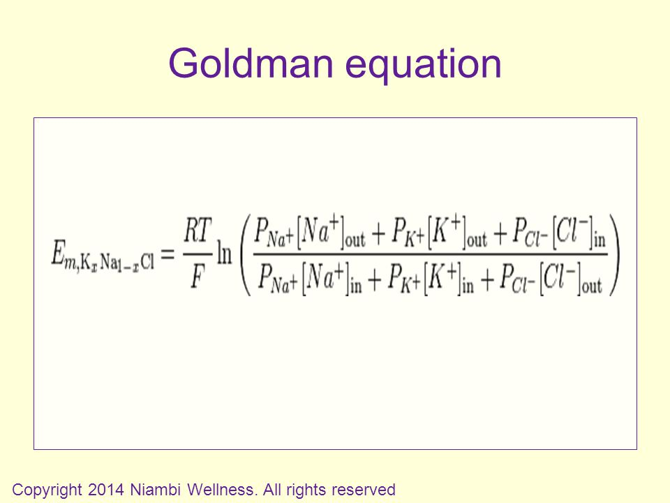Goldman equation Copyright 2014 Niambi Wellness. All rights reserved
