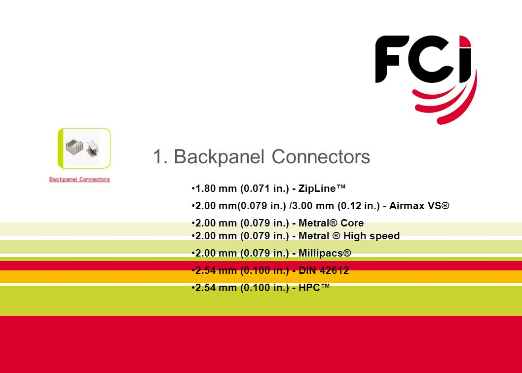 1. Backpanel Connectors 1.80 mm (0.071 in.) - ZipLine™ 2.00 mm(0.079 in.) /3.00 mm (0.12 in.) - Airmax VS® 2.00 mm (0.079 in.) - Metral® Core 2.00 mm