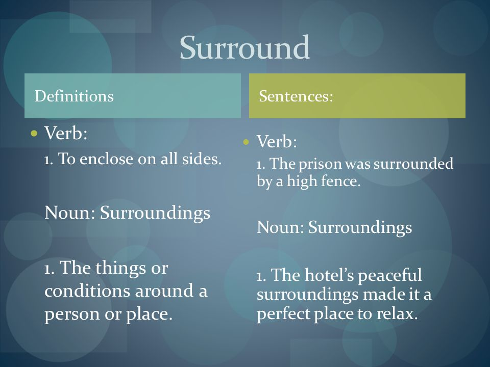 Definitions Verb: 1. To enclose on all sides. Noun: Surroundings 1.