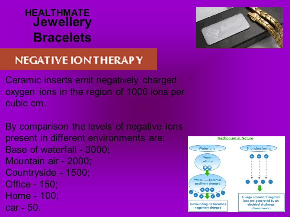 Jewellery Bracelets HEALTHMATE Ceramic inserts emit negatively charged oxygen ions in the region of 1000 ions per cubic cm.
