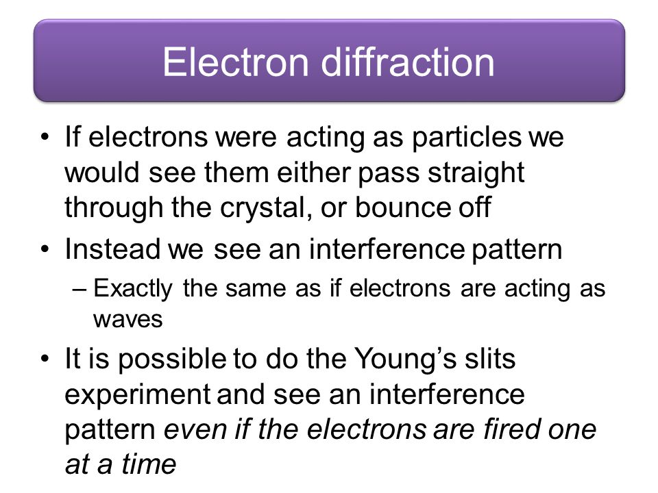 If electrons were acting as particles we would see them either pass straight through the crystal, or bounce off Instead we see an interference pattern