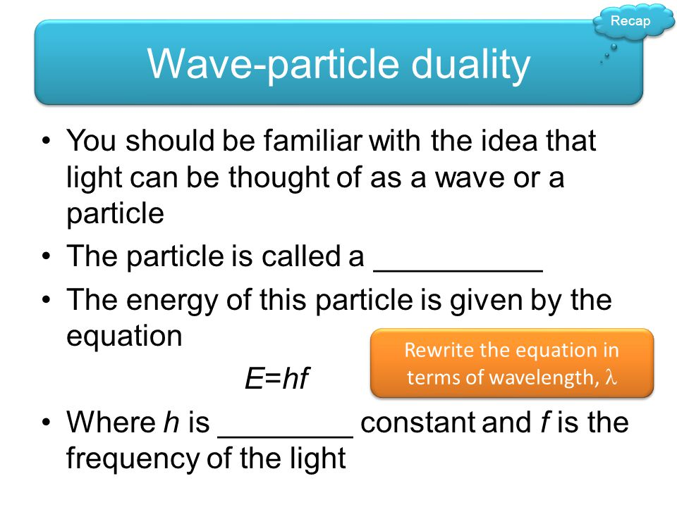Recap Wave-particle duality You should be familiar with the idea that light can be thought of as a wave or a particle The particle is called a _______