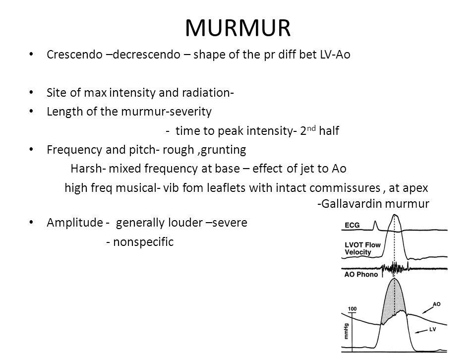 MURMUR Crescendo –decrescendo – shape of the pr diff bet LV-Ao Site of max intensity and radiation- Length of the murmur-severity - time to peak intensity- 2 nd half Frequency and pitch- rough,grunting Harsh- mixed frequency at base – effect of jet to Ao high freq musical- vib fom leaflets with intact commissures, at apex -Gallavardin murmur Amplitude - generally louder –severe - nonspecific