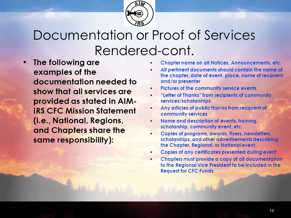 Documentation or Proof of Services Rendered-cont.