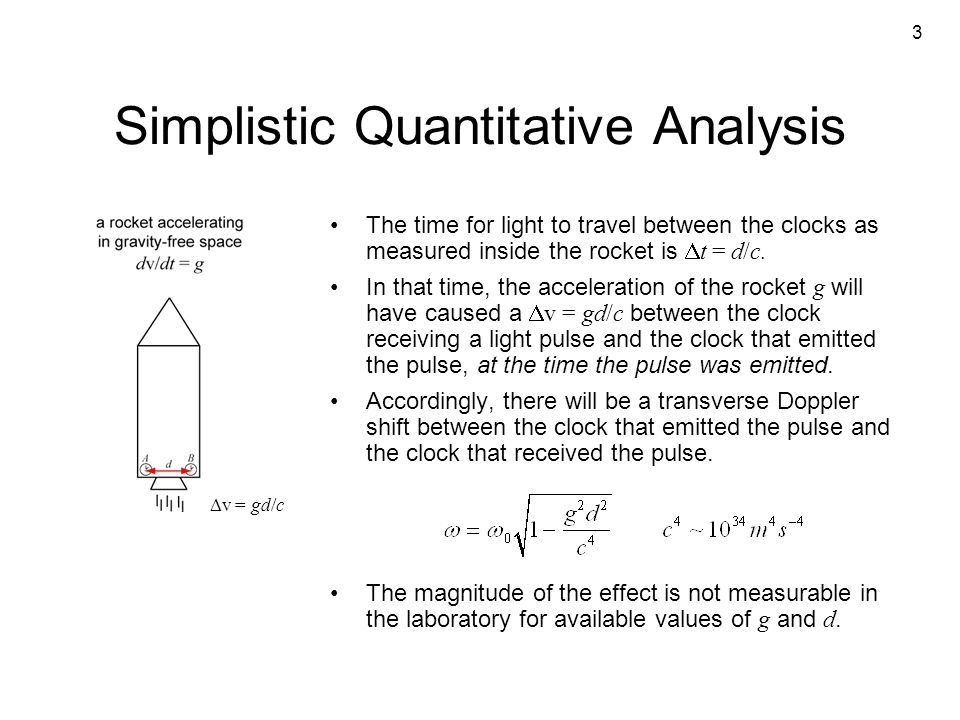 3 Simplistic Quantitative Analysis The time for light to travel between the clocks as measured inside the rocket is  t = d/c. In that time, the accel