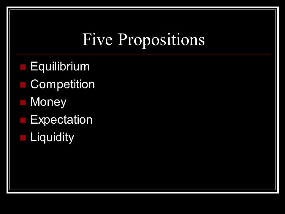 Five Propositions Equilibrium Competition Money Expectation Liquidity