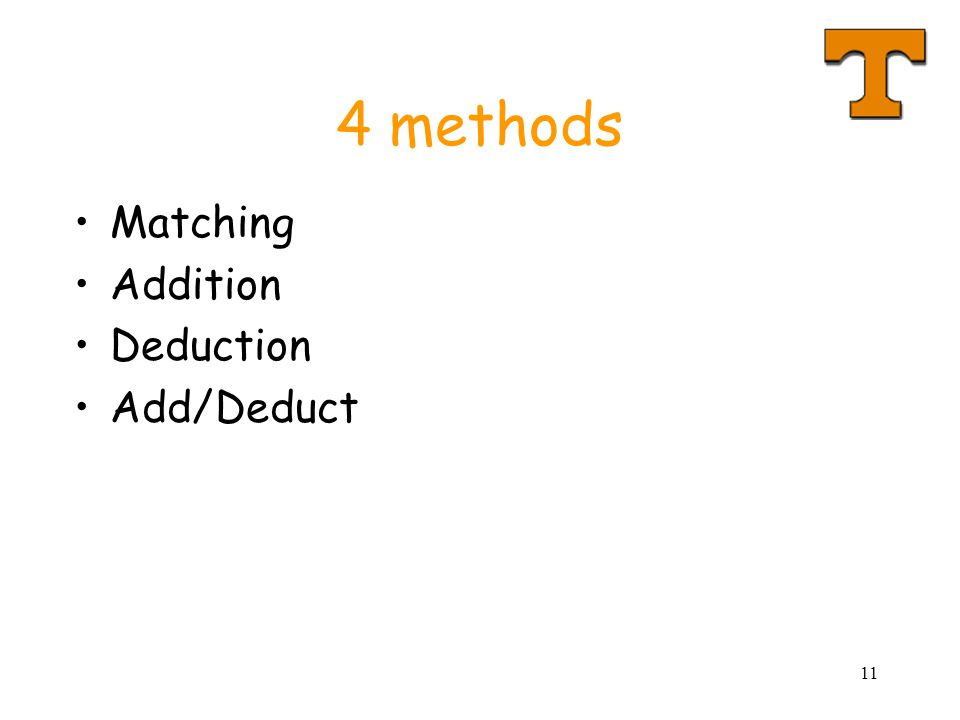 11 4 methods Matching Addition Deduction Add/Deduct