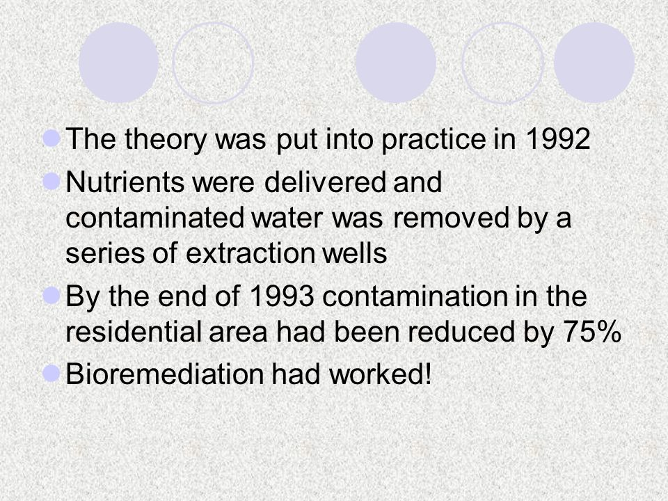 The theory was put into practice in 1992 Nutrients were delivered and contaminated water was removed by a series of extraction wells By the end of 1993 contamination in the residential area had been reduced by 75% Bioremediation had worked!
