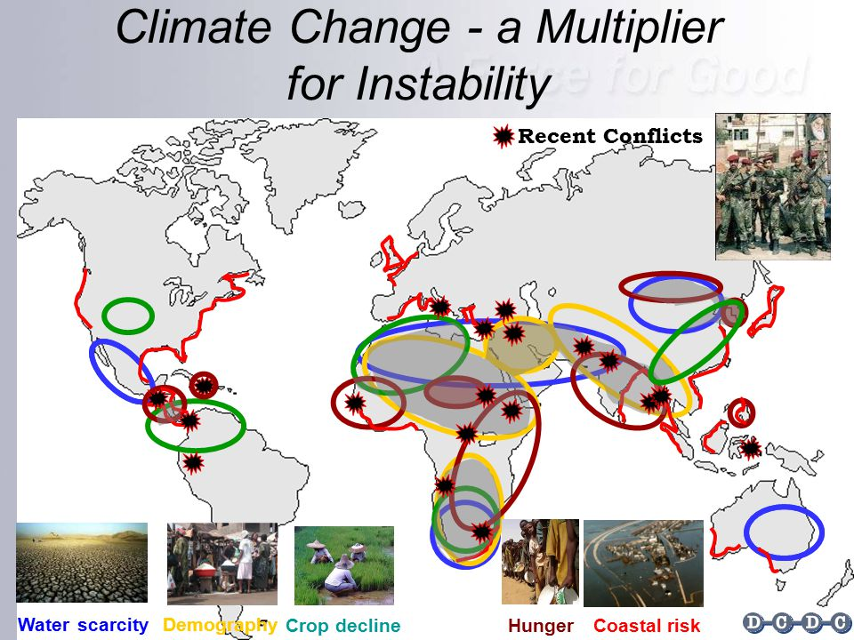 Climate Change - a Multiplier for Instability Recent Conflicts Demography Crop decline Hunger Coastal risk Waterscarcity