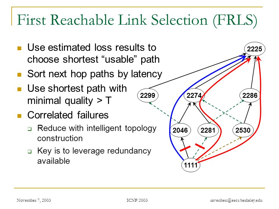 ICNP 2003 November 7, 2003 ravenben@eecs.berkeley.edu First Reachable Link Selection (FRLS) Use estimated loss results to choose shortest usable path Sort next hop paths by latency Use shortest path with minimal quality > T Correlated failures  Reduce with intelligent topology construction  Key is to leverage redundancy available 2046 1111 22812530 229922742286 2225