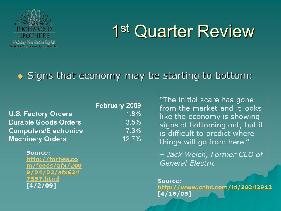 1 st Quarter Review  Signs that economy may be starting to bottom: Source: http://forbes.co m/feeds/afx/200 9/04/02/afx624 7597.html [4/2/09] http://