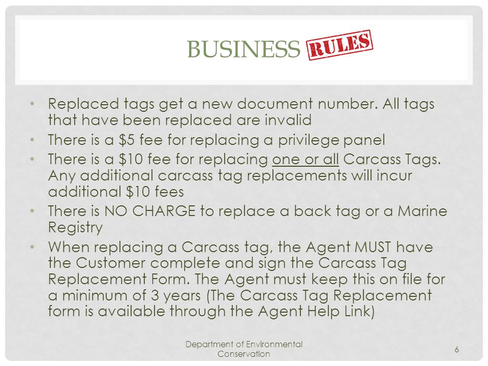 BUSINESS Replaced tags get a new document number.