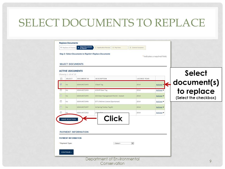 SELECT DOCUMENTS TO REPLACE Department of Environmental Conservation 10 Click Select Change the NO radio button to YES