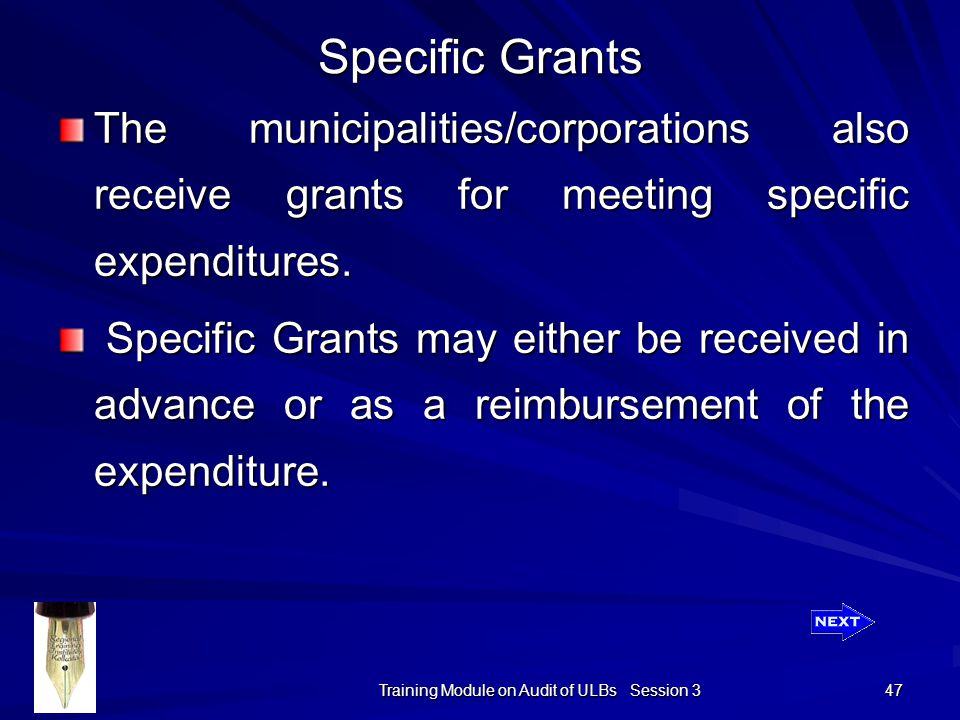 Training Module on Audit of ULBs Session 3 47 Specific Grants The municipalities/corporations also receive grants for meeting specific expenditures.