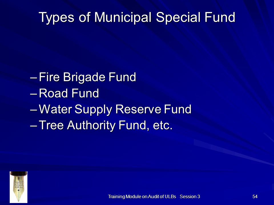 Training Module on Audit of ULBs Session 3 54 –Fire Brigade Fund –Road Fund –Water Supply Reserve Fund –Tree Authority Fund, etc.