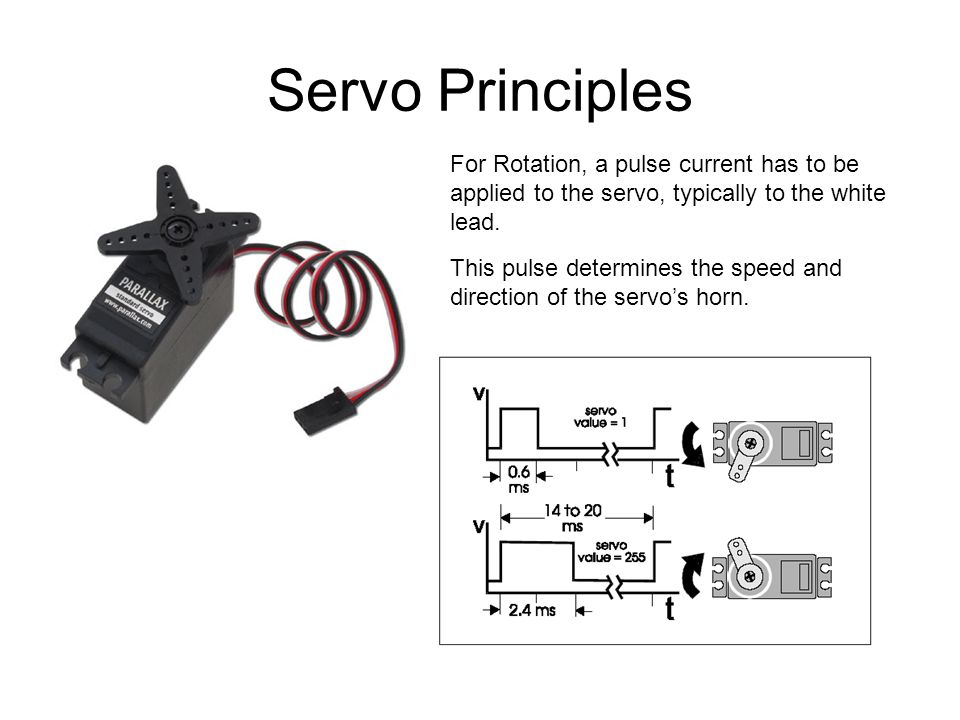 Servo Principles For Rotation, a pulse current has to be applied to the servo, typically to the white lead. This pulse determines the speed and direct
