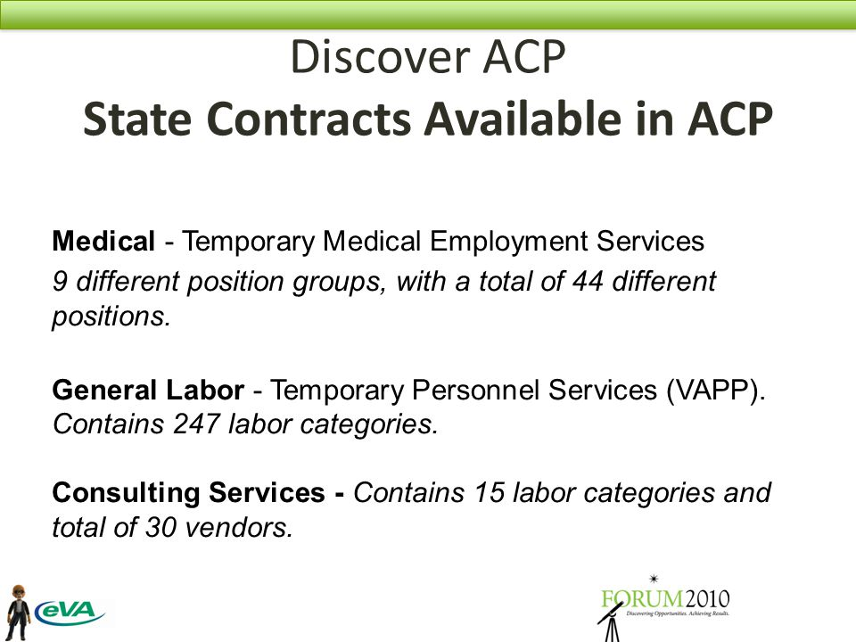 Discover ACP State Contracts Available in ACP Medical - Temporary Medical Employment Services 9 different position groups, with a total of 44 different positions.