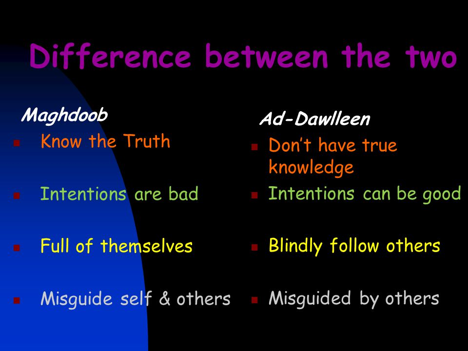 Difference between the two Maghdoob Know the Truth Intentions are bad Full of themselves Misguide self & others Ad-Dawlleen Don't have true knowledge