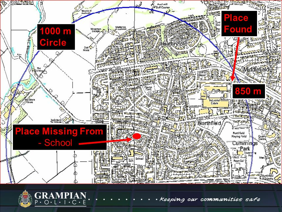 1000 m Circle Place Missing From - School Place Found 850 m