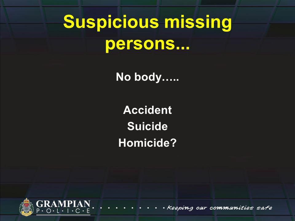 Suspicious missing persons... No body….. Accident Suicide Homicide?
