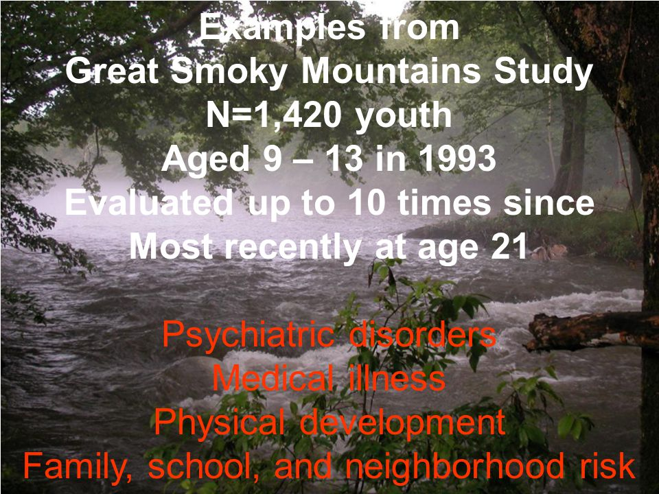 Examples from Great Smoky Mountains Study N=1,420 youth Aged 9 – 13 in 1993 Evaluated up to 10 times since Most recently at age 21 Psychiatric disorde