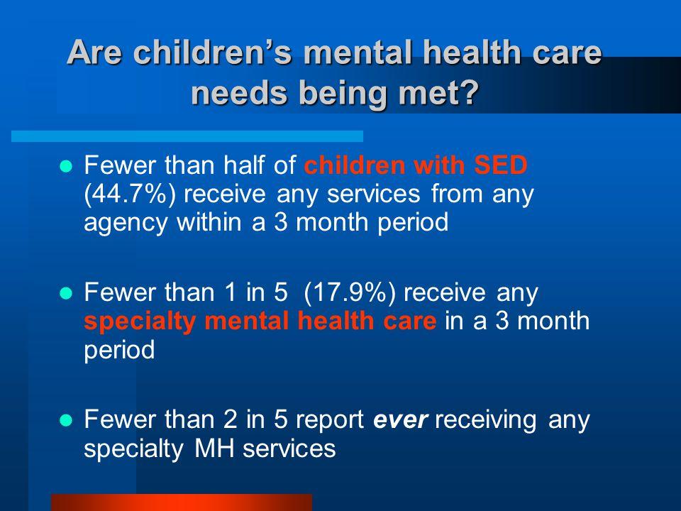 Are children's mental health care needs being met.