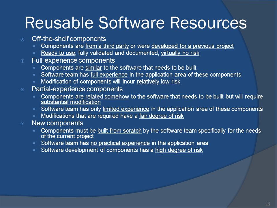 Reusable Software Resources  Off-the-shelf components Components are from a third party or were developed for a previous project Ready to use; fully