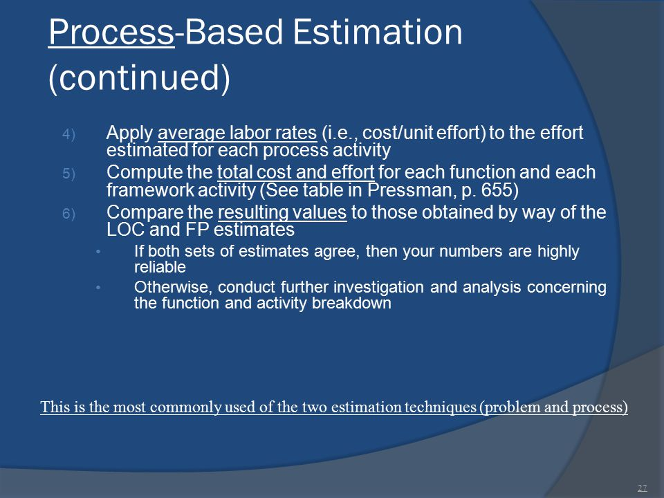 Process-Based Estimation (continued) 4) Apply average labor rates (i.e., cost/unit effort) to the effort estimated for each process activity 5) Comput