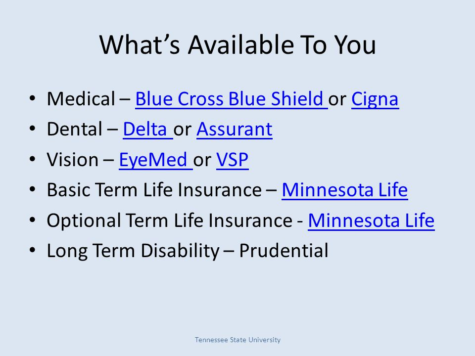 What's Available To You Medical – Blue Cross Blue Shield or CignaBlue Cross Blue Shield Cigna Dental – Delta or AssurantDelta Assurant Vision – EyeMed