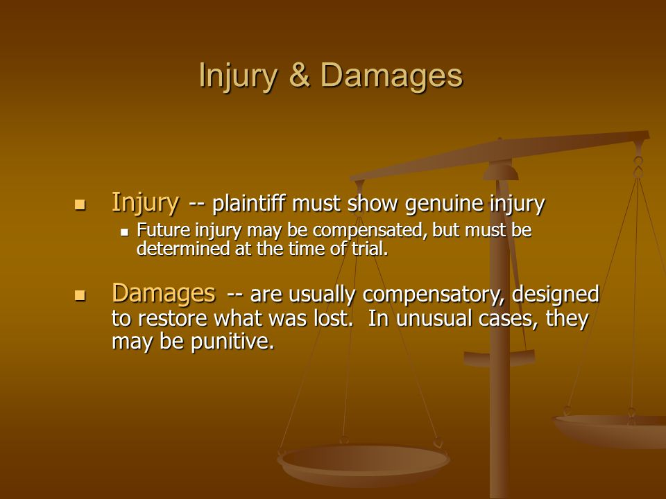 Injury & Damages Injury -- plaintiff must show genuine injury Injury -- plaintiff must show genuine injury Future injury may be compensated, but must