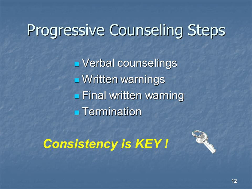 12 Progressive Counseling Steps Verbal counselings Verbal counselings Written warnings Written warnings Final written warning Final written warning Termination Termination Consistency is KEY !