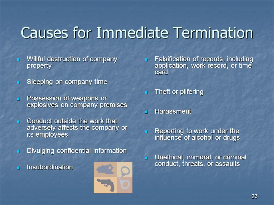 23 Causes for Immediate Termination Willful destruction of company property Willful destruction of company property Sleeping on company time Sleeping on company time Possession of weapons or explosives on company premises Possession of weapons or explosives on company premises Conduct outside the work that adversely affects the company or its employees Conduct outside the work that adversely affects the company or its employees Divulging confidential information Divulging confidential information Insubordination Insubordination Falsification of records, including application, work record, or time card Falsification of records, including application, work record, or time card Theft or pilfering Theft or pilfering Harassment Harassment Reporting to work under the influence of alcohol or drugs Reporting to work under the influence of alcohol or drugs Unethical, immoral, or criminal conduct, threats, or assaults Unethical, immoral, or criminal conduct, threats, or assaults