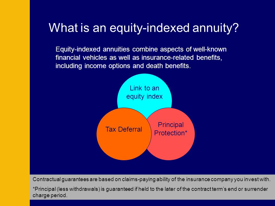 What is an equity-indexed annuity? Equity-indexed annuities combine aspects of well-known financial vehicles as well as insurance-related benefits, in