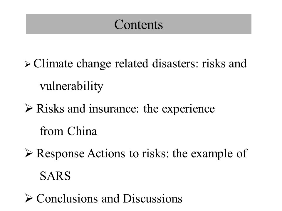 Climate change related disasters risks and vulnerability (1-1)  Climate change related risks risk: the combination of probability, or frequency, of occurrence of a defined hazard and the magnitude of the consequences of the occurrence. Vulnerability: susceptible to, or unable to cope with, adverse effects of climate change, including climate variability and extremes; is a function of the character, magnetite, rate, sensitivity and adaptive capacity.